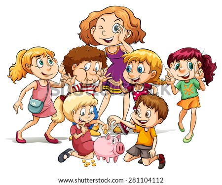 Group of children and a woman with cheerful expression - stock vector