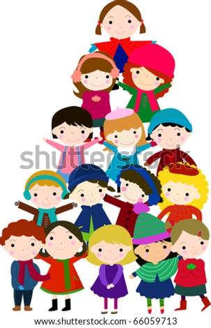 group of children for christmas tree - stock vector