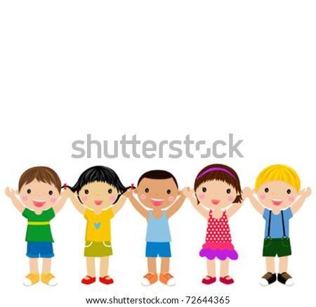 group of children having fun - stock vector