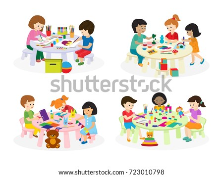 group of children painting on paper at table in kindergarten paint lesson kids characters club house - Pictures To Paint For Children