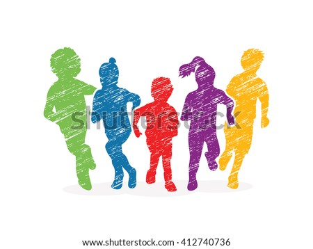 Group of children running, Front view designed using colorful grunge brush graphic vector. - stock vector