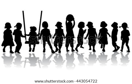 Group of children - silhouettes of conceptual.