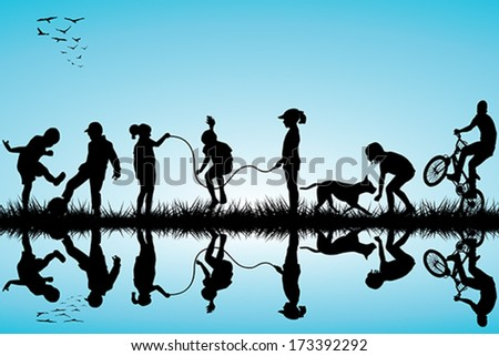 Group of children silhouettes playing - stock vector