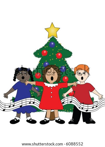 Group of children singing around a Christmas tree - stock vector