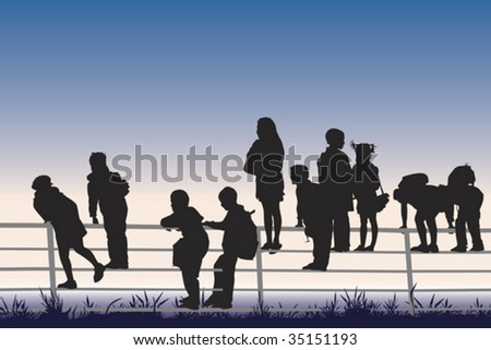 group of children watching sunset - stock vector