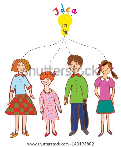 Group of children with idea bulb illustration - stock vector