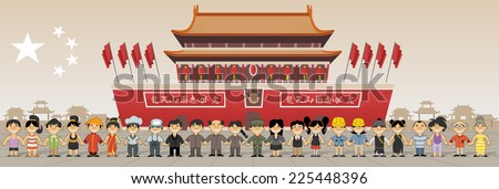 Group of chinese happy cartoon people in front of Forbidden city in  Beijing , China  - stock vector