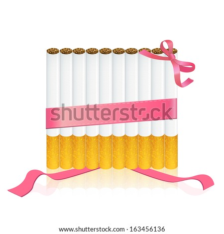 Group of cigarettes with red ribbons. Vector design  - stock vector