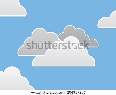Group of clouds and blue background