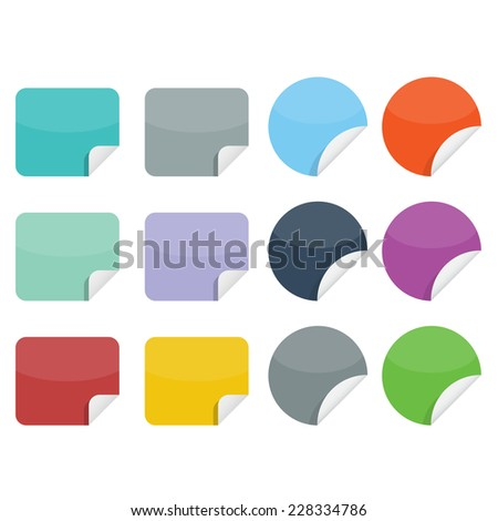 Group of color stickers vector illustration - stock vector
