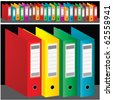 group of colored ring binders - vector - stock photo