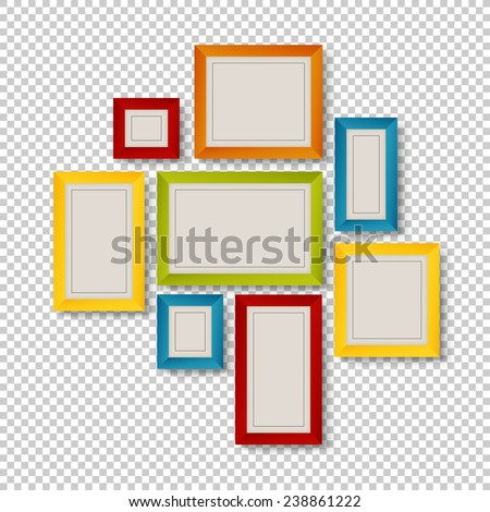 Group of Colorful Frames on Transparent Background - stock vector