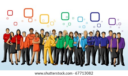 Group of Colorful People. Rainbow colors. - stock vector