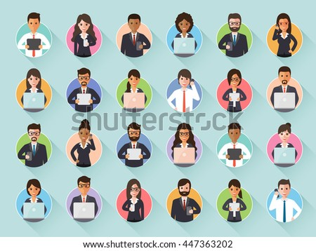 Group of connecting businessman and businesswoman via social network with gadgets. Flat design people characters. - stock vector