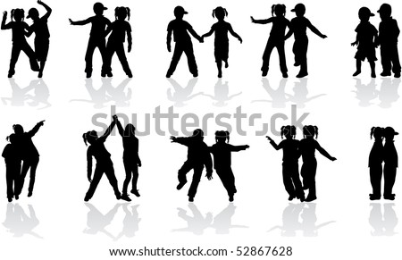 group of crazy kids - stock vector