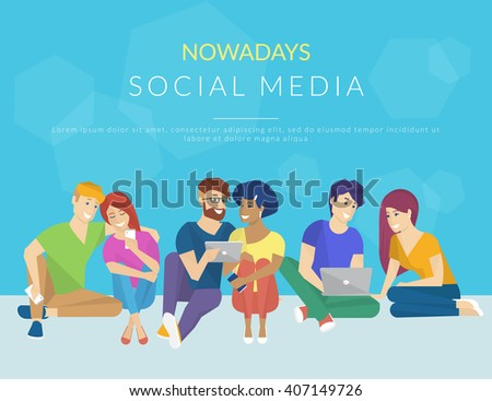Group of creative people using smartphone, laptop and tablet pc sitting on the floor and talking each other. Flat concept illustration of creative thinking and working with modern electronic devices  - stock vector