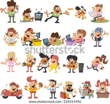 Group of cute happy cartoon people  - stock vector