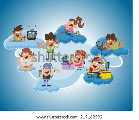 Group of cute happy cartoon people over cloud computing - stock vector