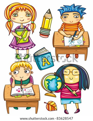 Group of cute, little schoolchildren. Isolated on white background. Ginger girl standing with book.  Funny boy sitting  at the desk,  playing game.  Blond boy at the desk writing love letter. - stock vector