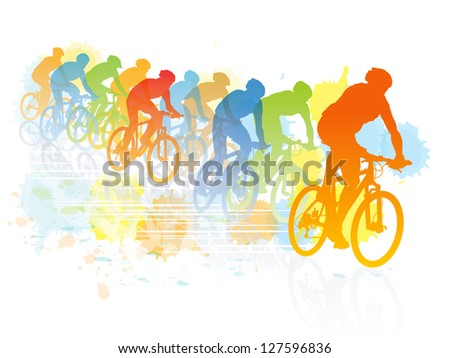 Group of cyclist in the bicycle race. Sport illustration - stock vector