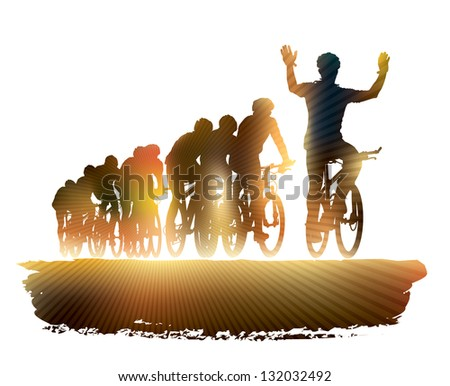Group of cyclist in the bicycle race. Sport illustration. - stock vector