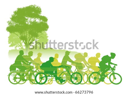 Group of cyclist on the road. Vector illustration. - stock vector