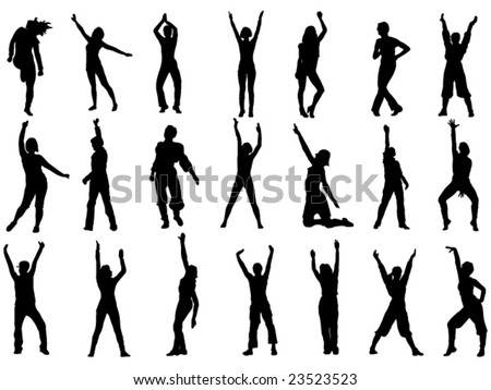 group of dancing girls in action vector illustration - stock vector