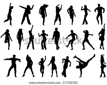group of dancing people in action vector illustration
