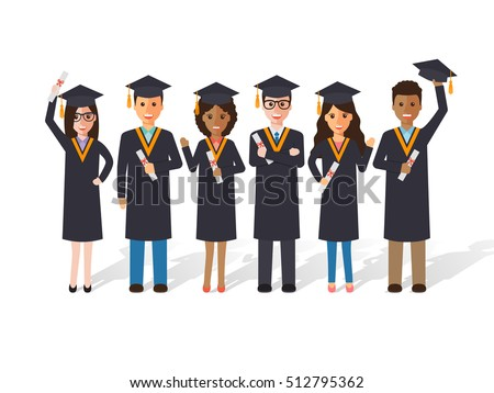 Scholar stock images royalty free images vectors shutterstock group of diverse school college and university graduation students and scholars flat design people stopboris Images