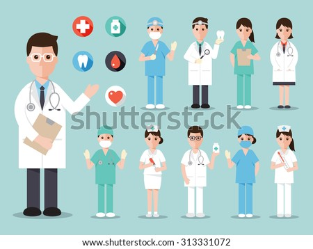 Group of doctors and nurses and medical staff people. Medical team concept in flat design people characters. - stock vector