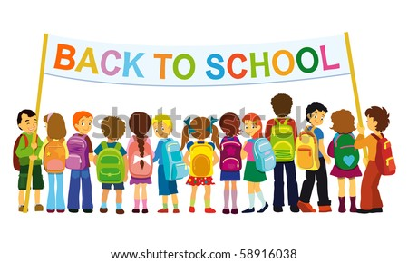 Group of elementary school pupils standing with large banner. - stock vector