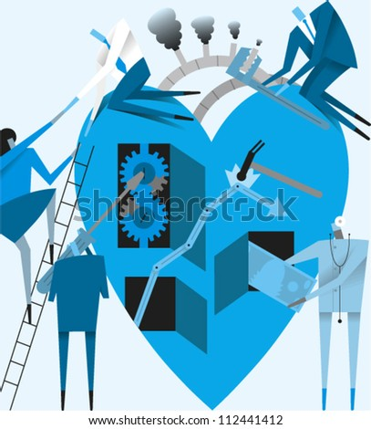 Group of figures working on a large heart as a metaphor for health care reform - stock vector