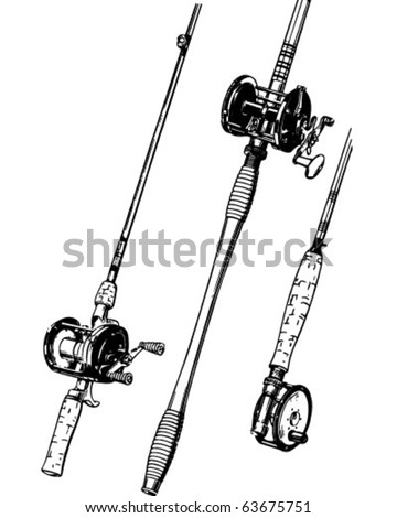 Group Of Fishing Rods - Retro Clipart Illustration - stock vector