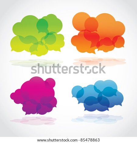 Group of four lava speech clouds, vector - stock vector