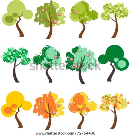 Group of four trees with different foliage in three color palettes.