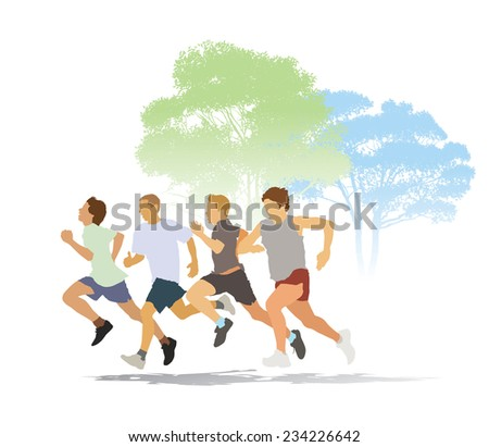 Group of four young men running in the race. - stock vector