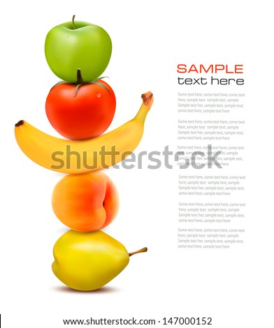 Group of fresh fruit. Dieting concept. Vector. - stock vector