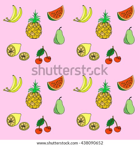 Group of fresh fruit doodle. Colorful vector seamless pattern.