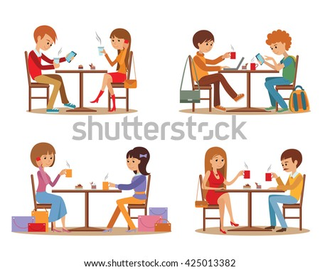 Group of friends In cafe. Coffee break and dating. - stock vector