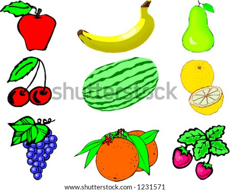 Group of fruit vector - stock vector