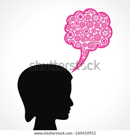 Group of gears make a speech bubble with female face stock vector - stock vector