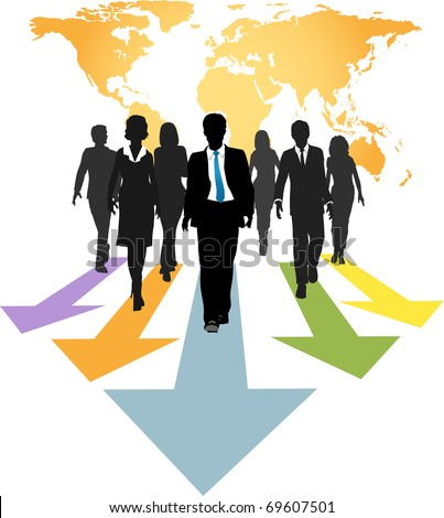 Group of global business people walk forward on progress arrows from a world map - stock vector