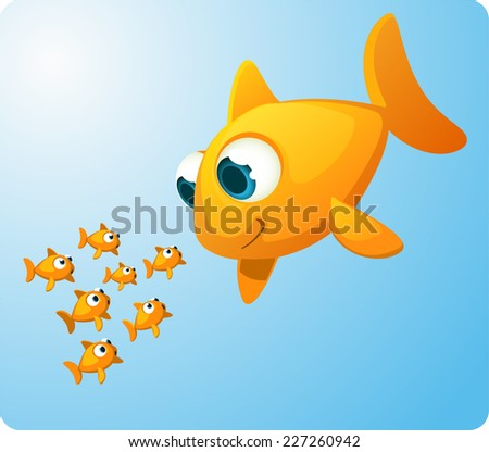 Group of Goldfish looking amazed at a giant Goldfish smiling at them. Surprised and amazed little fish staring at an equal, but enormous fish of their specie vector illustration.  - stock vector