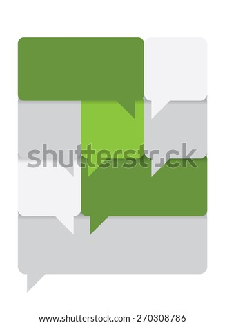 Group of green and gray text boxes. - stock vector