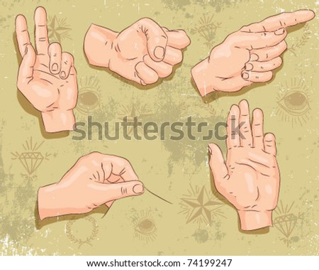 group of hands. - stock vector