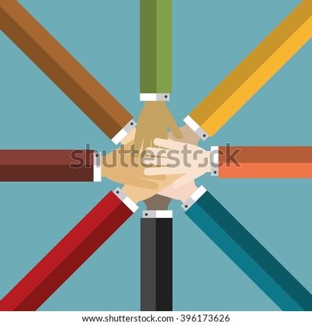 Group of Hands Together - stock vector