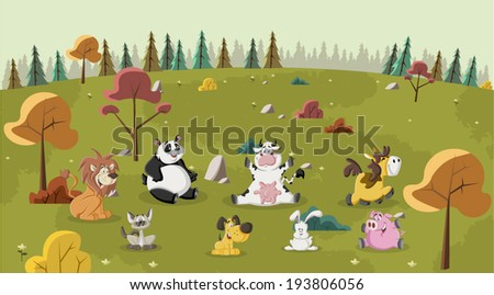 Group of happy cartoon animals pet on green park  - stock vector