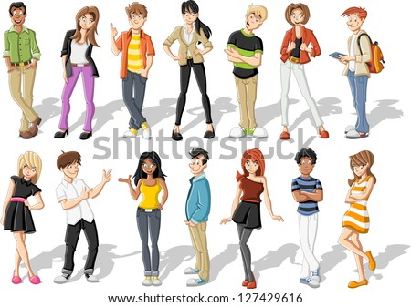Group of happy cartoon young people - stock vector