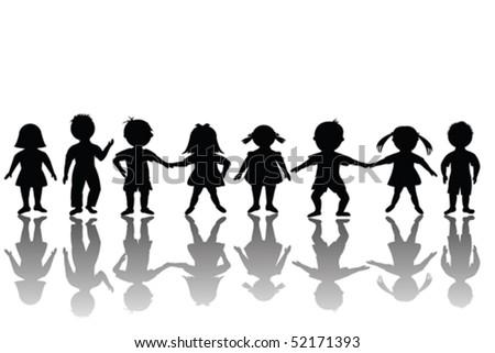 Group of happy children - stock vector