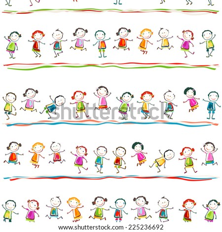 group of happy children playing - stock vector